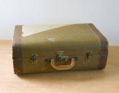 Vintage Striped Cardboard Suitcase  1940s by lisabretrostyle2
