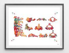 Cervical vertebrae watercolor print medical art