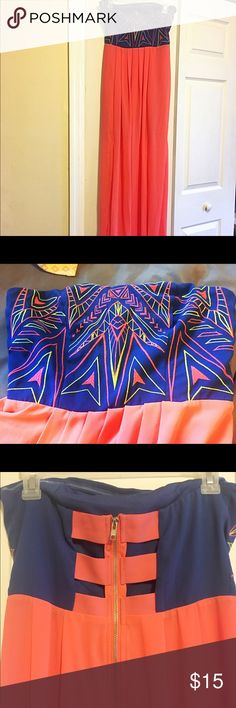 Neon Maxi Dress💋 ✨Never worn!✨ Blue top with Aztec, neon designs and a flowy, pink skirt that becomes sheer at the knees. Cut out back with a statement zipper. Smoke free and pet free home! Size is a small but fits like a medium! Dresses Maxi