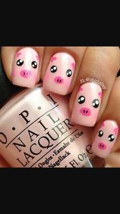 If you're looking to do seasonal nail art, spring is a great time to do so. The springtime is all about color, which means bright colors and pastels are becoming popular again for nail art. These types of colors allow you to create gorgeous nail art. Farm Animal Nails, Animal Nail Art, Pig Nail Art, Animal Nail Designs, Cute Nail Art Designs, Nail Designs For Kids, Pretty Designs, Pedicure Designs, Nail Art For Kids