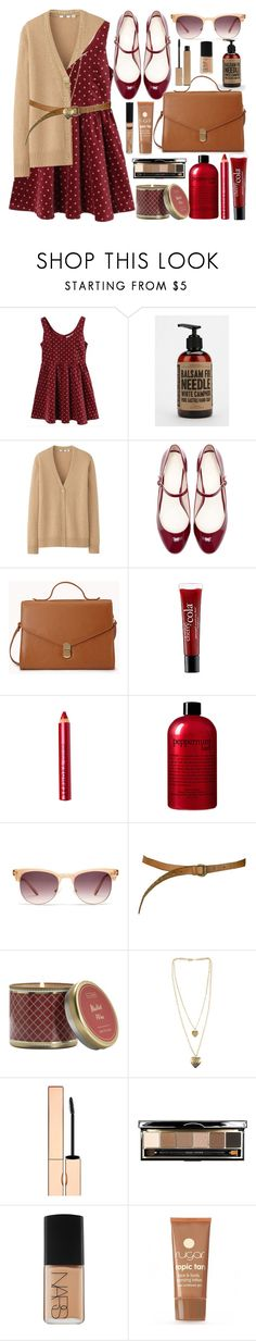 """""""Untitled #4539"""" by lidia-solymosi ❤ liked on Polyvore featuring Barnaby Black, Uniqlo, Zara, Forever 21, philosophy, Sephora Collection, Madewell, Paul & Joe Sister, Illume and Clarins"""