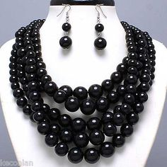 Multi Strand Black Beads Chunky Beaded Statement Necklace Set