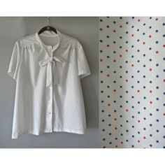 d3dfba55286f03 Polka Dot Bow Blouse Ascot Tie Top Pussybow Blouse White Red Blue 1980 s  80 s Secretary Retro