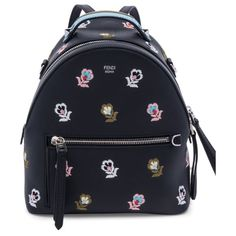 floral-embroidered leather backpack by Fendi. Smooth leather backpack with  multicolor floral embroidery. afe1cf82e0942