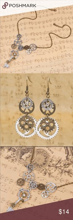 Steampunk jewelry set Necklace and earrings Jewelry Necklaces