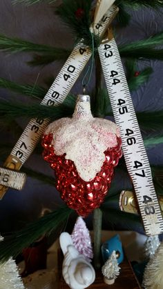 Vintage Glass Ornament Snow Frosted Berry by TheVintiqueBoutique