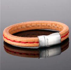 CORINT - pánsky náramok z hovädzej kože(prírodná)+červené prešitie, oceľ, 21,5cm Bracelets, Leather, Jewelry, Fashion, Moda, Jewlery, Jewerly, Fashion Styles, Schmuck