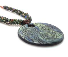 Kumihimo Necklace Beaded Blue and Green by GirlBurkeStudios, $35.00