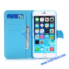 Bling Rhinestone Crystal Diamond Wallet Style Flip Stand TPU+PU Leather Case for iPhone 6 4.7 inch(Blue)