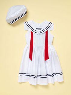 White nautical dress and beret