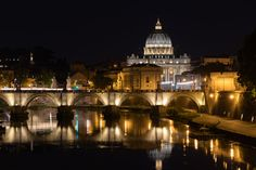 At night you can see very nice reflections of all the buildings which are illuminated. Here you can see the reflections of the St. Peters dome and the Aelius bridge in the Tiber. City Architecture, The St, Reflection, Mansions, Nice, House Styles, Buildings, Bridge, Travel