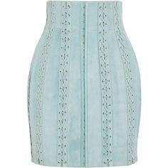 BALMAIN  Lace-up suede mini skirt (25,265 MXN) ❤ liked on Polyvore featuring skirts, mini skirts, lace up mini skirt, blue suede skirt, suede leather skirt and short blue skirt