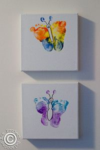 Feet butterfly footprint art ~ fabulous art party idea!