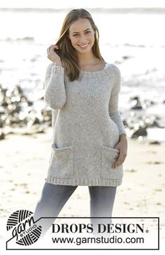 Evening Promenade Jumper with pockets by DROPS Design Free Knitting Pattern
