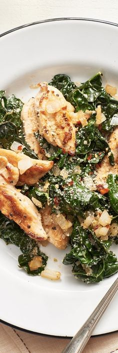 Low Carb Recipes: Parmesan Chicken and Kale Sauté. There's kale in it to make you feel wholesome, and cheese and white wine to make you feel indulgent. A healthy, quick and simple chicken dinner for your family!