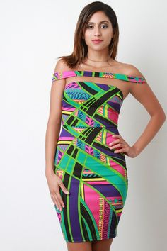 Geometric Print Banded Off-The-Shoulder Bodycon Dress