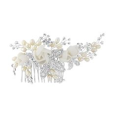 Clarissa Floral Bridal Hair Comb has a feminine,romantic design. Soft fabric flowers combine with classic pearls and crystal for a timeless elegant look Bridal Comb, Hair Comb Wedding, Pearl Bridal, Wedding Veils, Wedding Dresses, Bridal Hair Flowers, Flower Headpiece, Crystal Wedding, Rose Wedding