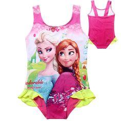 ad8d9cabb7 One Piece Infantil Summer Beach Elsa Anna Bikini Swimsuits Kids Swimwear