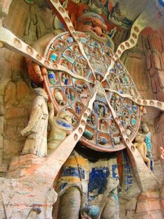 Sichuan Basin in China, is a stunning example of grotto art dating back to the 7th century. The Wheel of Life represents the various human, animal and divine forms of reincarnation that, according to Buddhist beliefs, are the destiny of departed souls. How a person is reincarnated depends, of course, upon the merits achieved during his or her lifetime (Dazu)