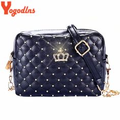 Cheap bag high quality, Buy Quality chain shoulder bag directly from China fashion women bags Suppliers: Yogodlns Women Bag Fashion Women Messenger Bags Rivet Chain Shoulder Bag High Quality PU Leather Crossbody Quiled Crown bags Women's Bags, Purses And Bags, Chain Crossbody Bag, Leather Crossbody, Leather Chain, Pu Leather, Cross Body, Crown Royal Bags, Vintage Man
