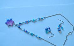 Colectia arabescuri de culoare - acuarela albastra - Colier si cercei 4