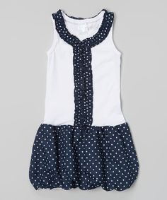 Loving this Navy Polka Dot Ruffle Bubble Dress - Toddler & Girls on #zulily! #zulilyfinds