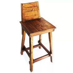 silla alta bar con respaldo madera antigua taburete banqueta