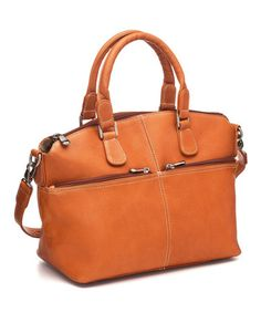 Another great find on #zulily! Tan Classic Satchel by Le Donne #zulilyfinds