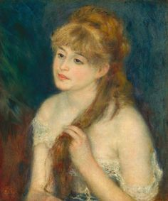 YOUNG WOMAN BRAIDING HER HAIR (1876) by Auguste Renoir | Impressionism | Oil on canvas | 46 x 56 cm