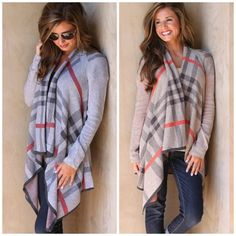 Plaid Open Front Cardigan Sweater This designer inspired Burberry-risqué plaid cardigan is a classic that will keep you looking effortlessly chic! You will want to LIVE in this cardigan all season! Pair it with jeans, basic white tee and boots for instant (and easy) style!  Sizing: S/M fits 0-6, M/L fits 8-12 (35 inches long) 100% Poly Boutique Sweaters Cardigans