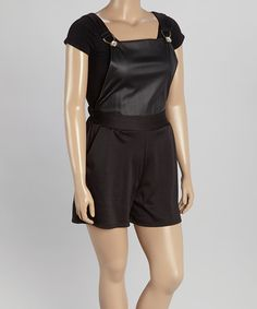 Loving this Black Short Overalls - Plus on #zulily! #zulilyfinds