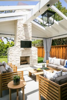 Cream Stone Outdoor Fireplace - Design photos, ideas and inspiration. Amazing gallery of interior design and decorating ideas of Cream Stone Outdoor Fireplace in bedrooms, decks/patios, pools by elite interior designers. Patio Design, House Design, Chair Design, Garden Design, Outdoor Rooms, Outdoor Decor, Outdoor Living Spaces, Indoor Outdoor Living, Outdoor Patios