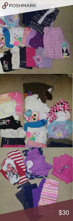 4T girls lot 17 long sleeve shirts, 2 matching outfits, 1 fleece pull over, 6 pants/jeans and 2 sets of pjs  Mostly name brands like Carter's, but some pieces are from Target and Kohls Carter's Shirts & Tops Tees - Long Sleeve