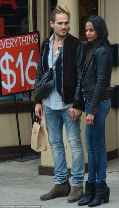 zoe saldana with new husband | Zoe Saldana and new husband share a public embrace during LA shopping ...