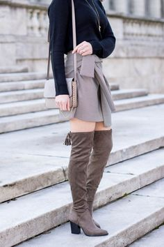 Styling a Mini Skirt with OTK Boots + New Hair