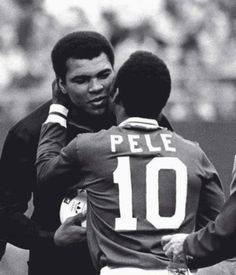 "Muhammad Ali hugs Pelé at his goodbye match. He said: ""My friend. My friend. Now there are two of the greatest"""
