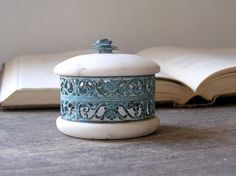 Marble decorative can Vintage collectible can from by MeshuMaSH