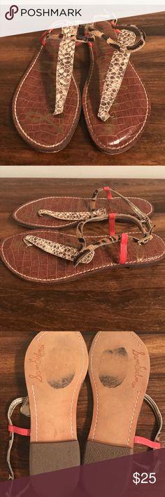 "Same Edelman Gigi Sandal Multicolor ""Gigi"" sandal with snake print, leopard print, and coral pink. Size 8. Excellent used condition. Sam Edelman Shoes Sandals"