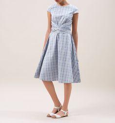Blue Madison Check Dress   Dresses   Hobbs