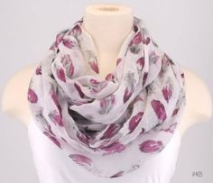 Floral Infinity Circle Scarf Necklace Boa Women Cowl White Pink Leaf Mauve | eBay