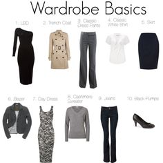 10 Wardrobe Basics - Wardrobe Basics by katestevens Above are 10 items that most women would consider wardrobe essentials. What items in your wardrobe could you not live without? Wardrobe Basics, Work Wardrobe, Capsule Wardrobe, Build Wardrobe, Trench Coat Dress, Travel Clothes Women, Travel Wardrobe, Casual Bags, Colorful Fashion