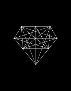 Printable Art Black Diamond Geometric Print door TheMotivatedType