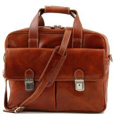 Tuscany Leather Reggio Emilia - Elégante serviette en cuir pour portable Miel: Amazon.fr: Bagages