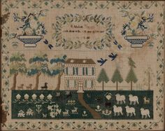 1829 Sampler of Home and Animals : Lot 745