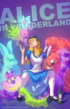 How perfect is this picture. I love it! Alice In Wonderland image that shows Alice smoking a joint (presumably of marijuana). The image is showing Alice in Wonderland, the children's movie, as a movie involving heavy drug use. This is re framing a facet of pop culture to challenge the audience's understanding of the movie.