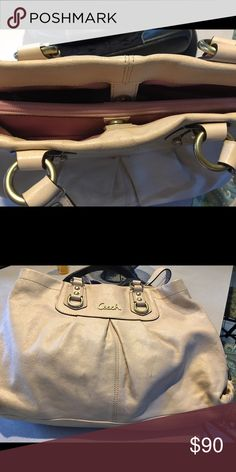 Coach Bag Cream colored large tote with gold hardware beautiful bag 3 compartments/zip middle Bags Totes