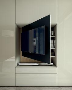 Armário modular lacado de madeira e vidro com TV integrada ROOMY | Armário com TV integrada - Caccaro