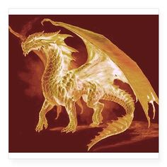 "Gold Dragon Square Sticker 3"" x 3"" on CafePress.com"
