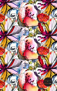 watercolor floral pattern red