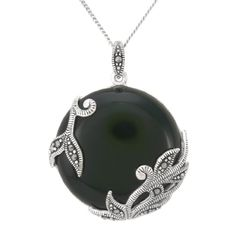 "Sterling Silver Marcasite Leaves Overlay Round Onyx Pendant Necklace,18"": $80.00"